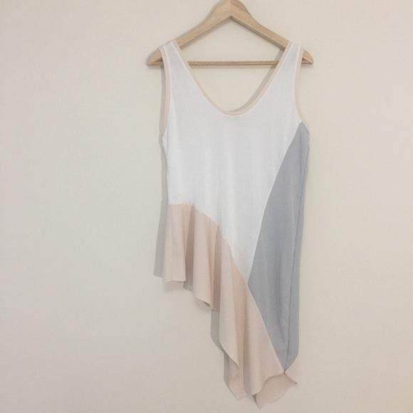 Zara asymmetric soft knitted long tank top